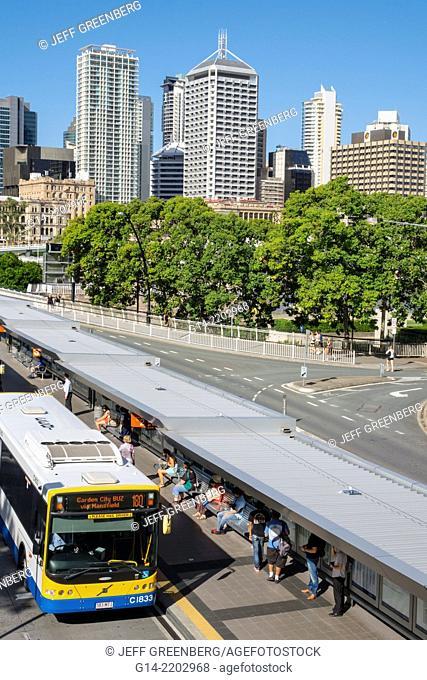 Australia, Queensland, Brisbane, Central, Business, District, CBD, Cultural Centre, center, bus station, city skyline, skyscrapers, buildings