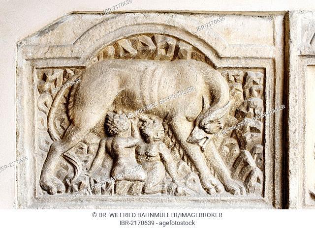 Capitoline Wolf with Romulus and Remus, Roman stone relief, exterior view, Maria Saal Pilgrimage Church, Carinthia, Austria, Europe