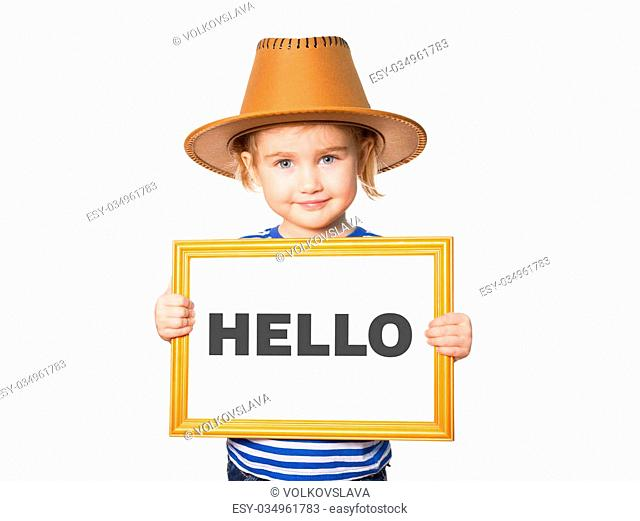 Little Funny girl in striped shirt with blackboard. Text HELLO. Isolated on white background