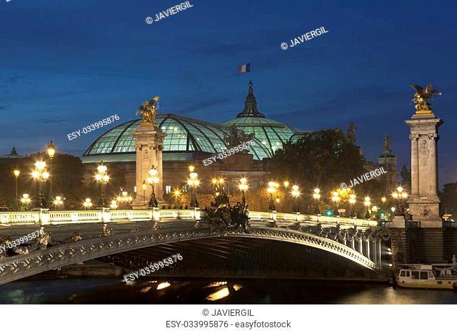 Alexander III bridge and Grand palais, Paris, Ile de France, France