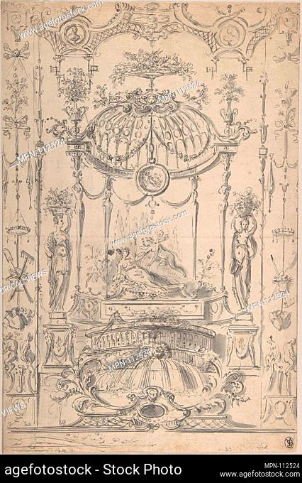 Design for an Arabesque with Cupid and Psyche. Artist: Circle of Claude Gillot (French, Langres 1673-1722 Paris); Date: 1720-40; Medium: Pen and gray ink