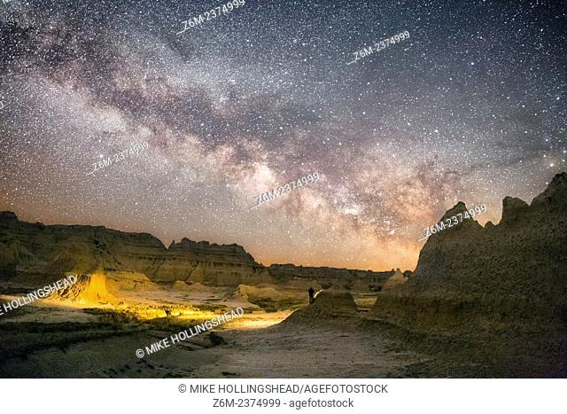 Milky Way rises over the Badlands of South Dakota