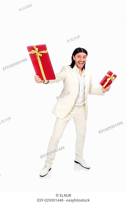 Man with giftbox isolated on white