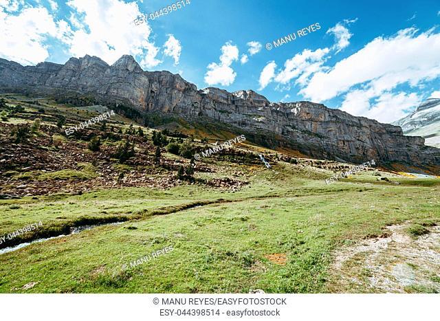 View of Circo de Soaso, Ordesa National Park, Aragon. Pyrenees Mountains, Spain