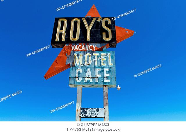 USA, California, Amboy, the Roy's motel and cafe sign on Route 66
