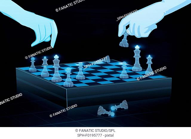 Two people playing chess online, illustration