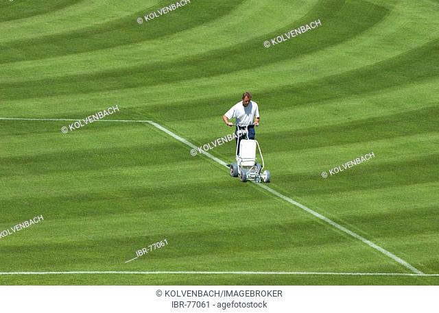 Groundskeeper chalks the lines of a football pitch in Bonn, Germany