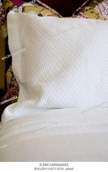 Detail shot of a bed at home; Azusa; California; USA
