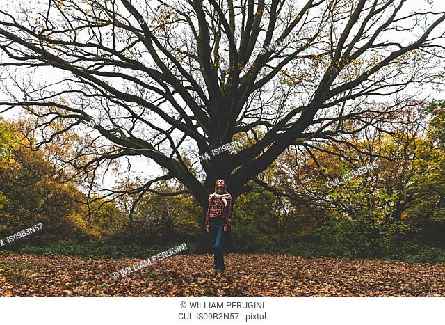 Mid adult woman standing in park in front of old tree