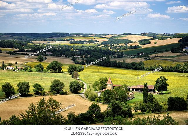 Countryside and rolling hills around the village. France, Gers, Lavardens labeled Les Plus Beaux Villages de France (The Most Beautiful Villages of France)...