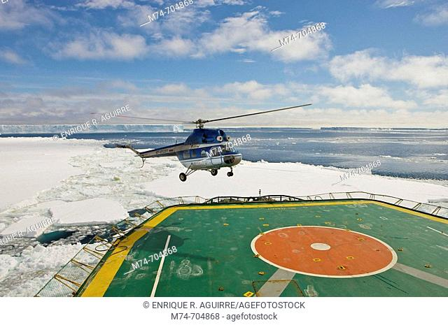 A helicopter Mi-2 from the Icebreaker Kapitan Khlebnikov in the Weddel Sea, Antarctica