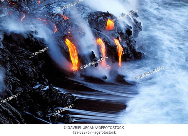 Melting magma entering the cold waters of the Pacific Ocean
