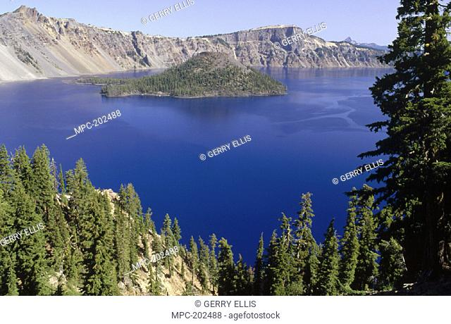 WIZARD ISLAND, CONE OF DESTROYED MOUNT MAZAMA AND REMAINS OF LAVA FLOW IN CRATER LAKE NATIONAL PARK, OREGON
