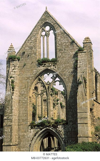 France, Brittany, close to Paimpol,  Abbaye de Beauport  Europe, department Cotes-d'Armor, sight, culture, belief, religion, chapel, sacral construction, ruin