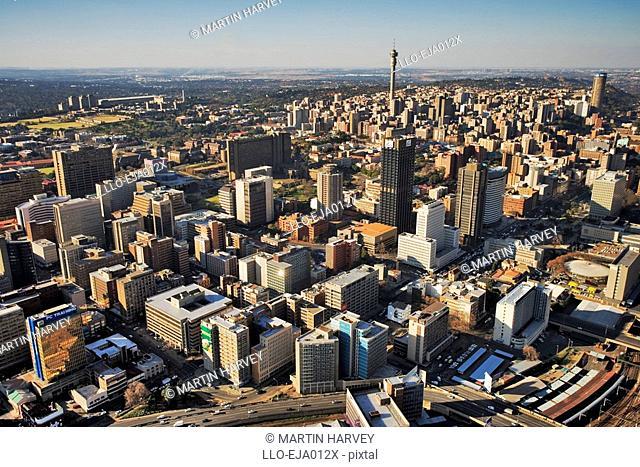 Aerial View over Johannesburg CBD and Hillbrow Highrise  Johannesburg, Gauteng Province, South Africa
