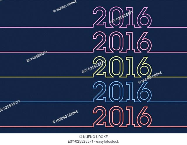 Vector colorful new year inscription 2016 sign