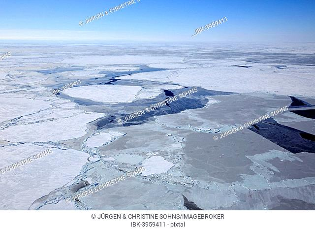 Aerial view, pack ice, Magdalen Islands, Gulf of Saint Lawrence, Quebec, Canada