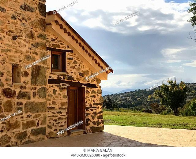 Rural house and landscape. Pradena del Rincon, Madrid province, Spain