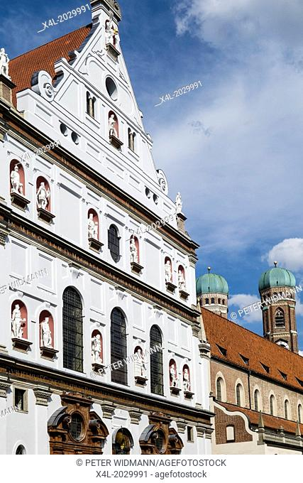Neuhauserstrasse with church of St Michael Munich Bavaria Germany Europe