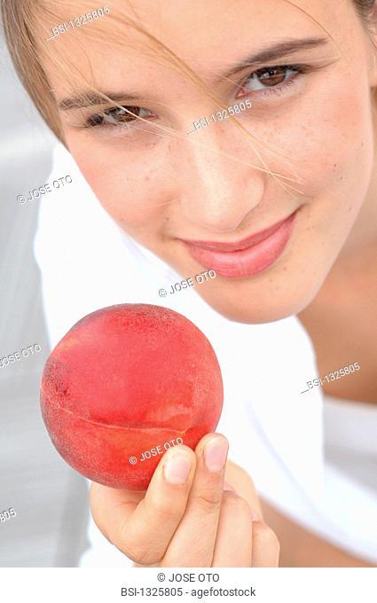 WOMAN EATING FRUIT<BR>Model