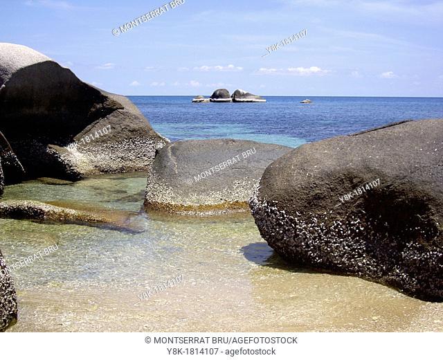 Landscape of rocks against deep blue sea in Koh Tao Island, Thailand