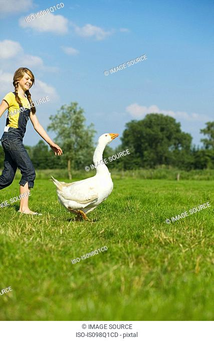 A teenage girl playing with a goose
