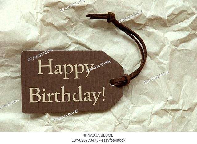 Brown Label With Happy Birthday Paper Background