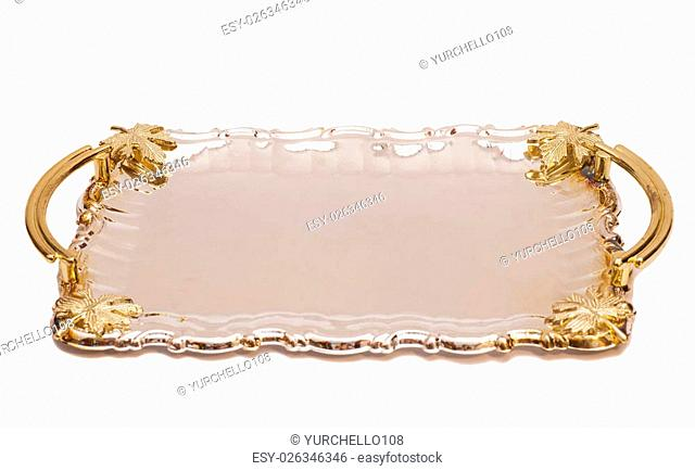 Empty Silver Tray With Leaf Ornament Isolated On White Background