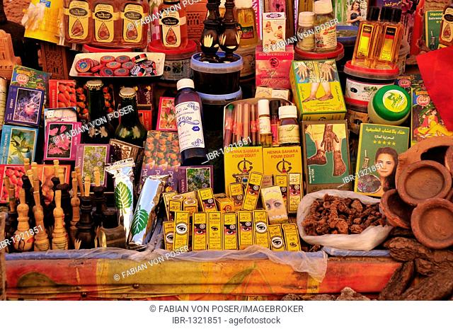 Stall with oriental oils and spices in a souq, market, in the historic city centre of Marrakech, Morocco, Africa