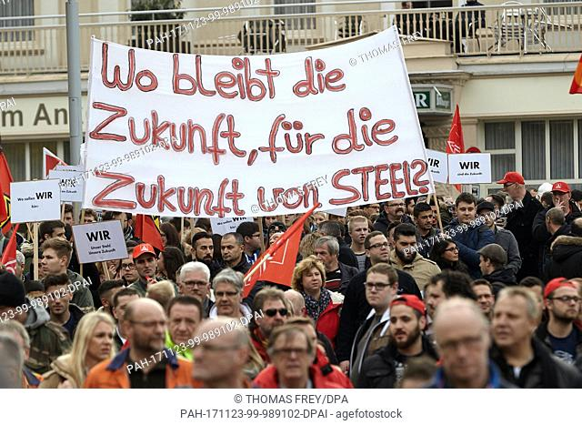 Steel workers protesting against the planned merger of steel giants Thyssenkrupp and Tata in Andernach, Germany, 23 November 2017