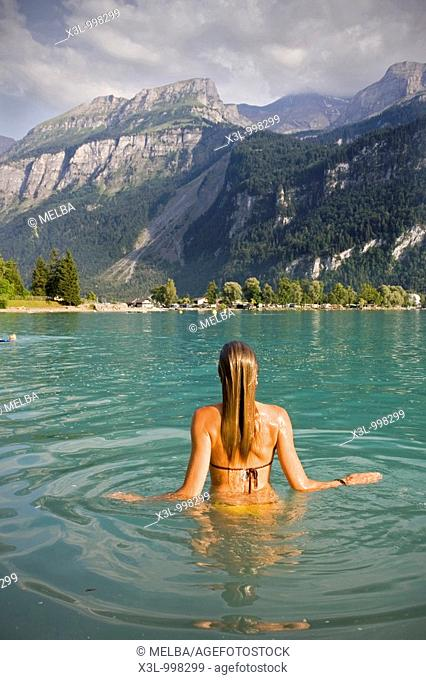 Girl swimming in Brienzers lake  Brienz  Switzerland