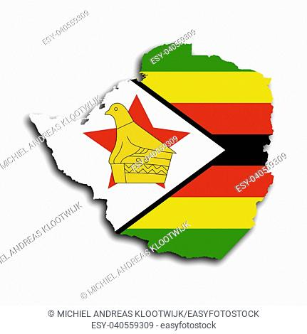 Map of Zimbabwe filled with the national flag