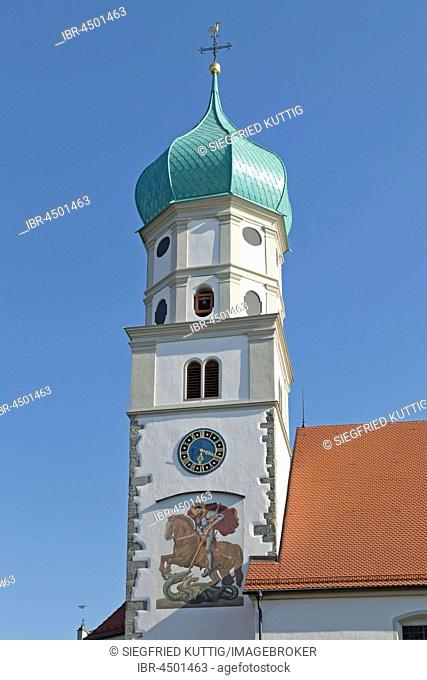 Steeple, church Sankt Georg, moated castle, Lake Constance, Bavaria, Germany