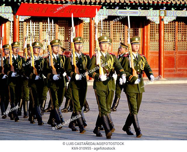 Red Army soldiers parading. Beijing. China