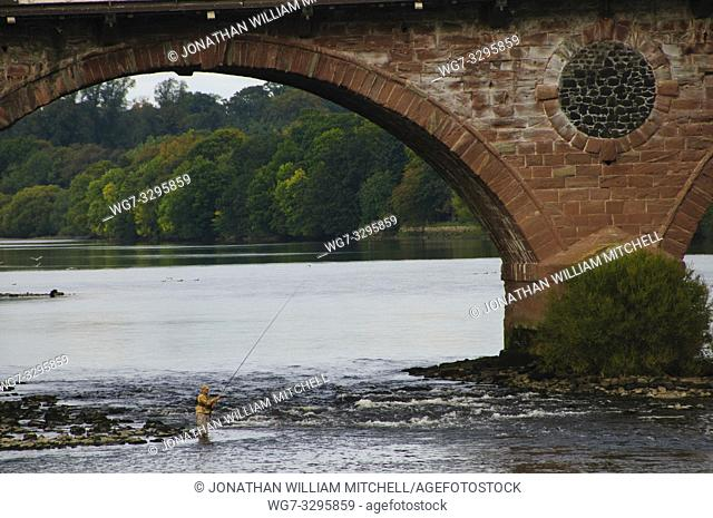SCOTLAND Perth -- 29 Sep 2014 -- Fly fishing on the River Tay in Perth Scotland UK -- Picture by Jonathan Mitchell/Atlas Photo Archive