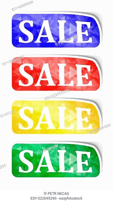 Labels with reflections and the words sale
