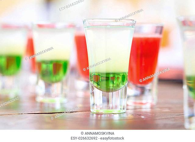 Raw of shot drinks on holiday party