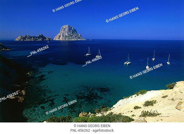 Sailboats moored near coast, Es Vedra, Balearic Islands, Spain