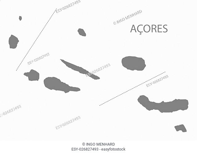 Acores Portugal Map in grey