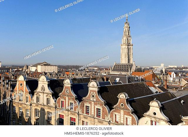 France, Pas de Calais, Arras, belfry listed as World Heritage by UNESCO and Flemish Baroque style houses (aerial view)