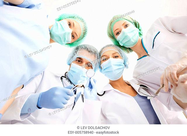 picture of young team or group of doctors in operating room