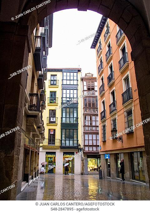 Plaza nueva de Bilbao. Vizcaya. Pais Vasco. España. Europa