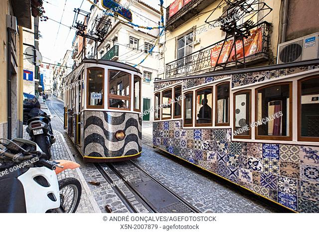 The Bica Funicular, Lisbon, Portugal, Europe