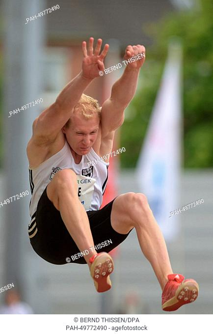 German decathlete Arthur Abele during a long-jump at the athletics combined event meeting in Ratingen, Germany, 28 June 2014