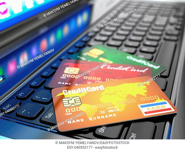 Online purchase. Credit card on laptop keyboard. 3d