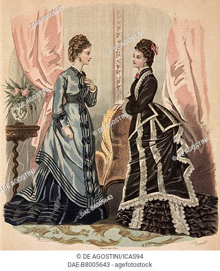 Women wearing afternoon dresses, Madame Delaunay designs, coloured engraving from La Mode Illustree, No 11, March 12, 1876