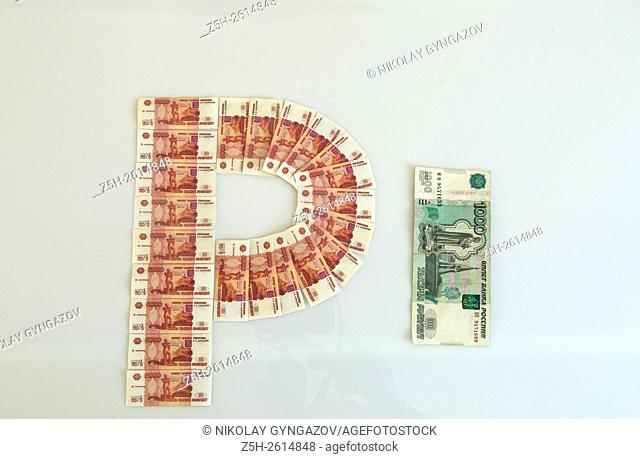 Money banknotes and coins Russia