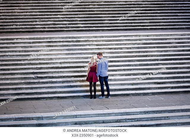 Couple in love. Piazza del Campidoglio. Rome Italy