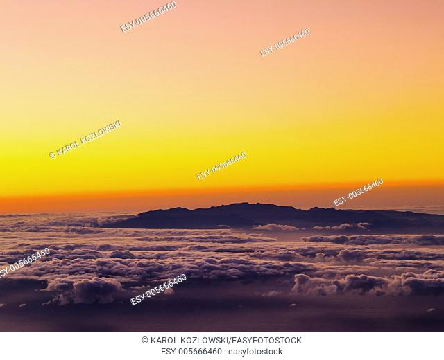 Sunrise on Teide, view of Gran Canaria, Canary Islands, Spain