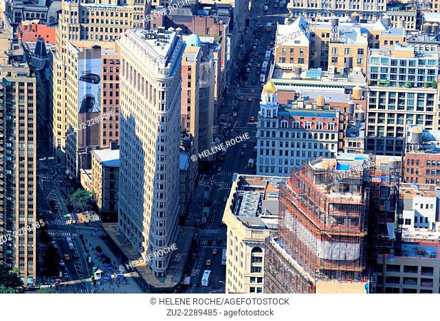 Aerial view of the Flatiron building from the Empire State Building, New York City, USA
